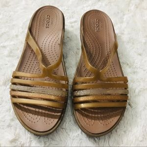 1ee8b8d0222f CROCS Shoes - Crocs Gold Shimmer Isabella Mini Wedge Sandals 7